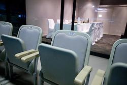 Seats and in the back VIP Lounge with Catering  of Jezersek House in Arena Stozice, Ljubljana, Slovenia. (Photo by Vid Ponikvar / Sportida.com)