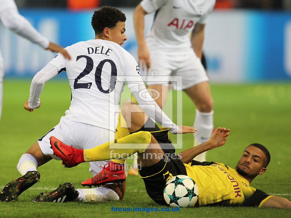 Jeremy Toljan of Borussia Dortmund and Dele Alli of Tottenham Hotspur during the UEFA Champions League match at Signal Iduna Park, Dortmund<br /> Picture by Yannis Halas/Focus Images Ltd +353 8725 82019<br /> 21/11/2017