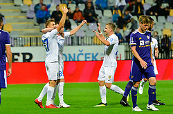 Players of NK Domzale celebrates during football match between NK Maribor and NK Domzale in 9th Round of Prva liga Telekom Slovenije 2018/19, on August 05, 2018 in Ljudski vrt, Maribor, Slovenia. Photo by Mario Horvat / Sportida