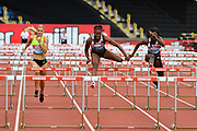Danielle Williams (JAM) centre, runs to the tape to win the women's 100m hurdles Final equalising the Meeting Record time of 12.46 ahead of Tobi Amusan (NGR) right, and Payton Chadwick (USA) during the Birmingham Grand Prix, Sunday, Aug 18, 2019, in Birmingham, United Kingdom. (Steve Flynn/Image of Sport)