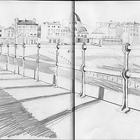 Sketchbook drawing of Worthing beach with the old Dome cinema seen from the pier