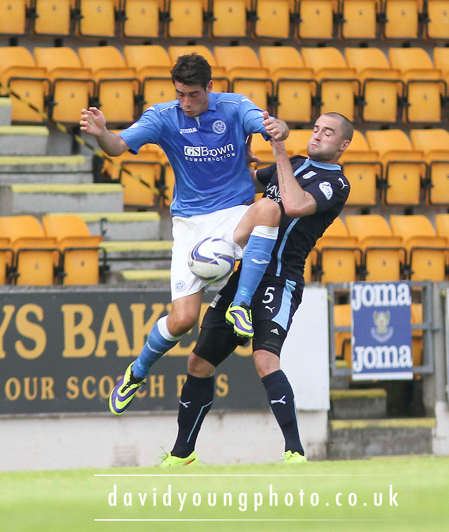 St Johnstone's Brian Graham and Dundee's James McPake -  St Johnstone v Dundee, SPFL Premiership at McDiarmid Park<br /> <br />  - &copy; David Young - www.davidyoungphoto.co.uk - email: davidyoungphoto@gmail.com