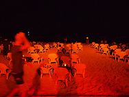 A man walks down the beach at night at the Old Port, Tel Aviv, Israel 2013.