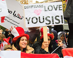 Whitehall, London, November 5th 2015. Pro Sisi demonstrators and counter protesters from UK Egyptian and human rights groups shout each other down outside Downing Street ahead of Egypt's President Abdel Fatah al-Sisi visiting Prime Minister David Cameron at No. 10. PICTURED: Sisi supporters cheer and wave their banners and flags.