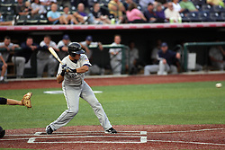 12 August 2011: Jake Eigsti, a native of Eureka Illinois and current batting leader in the Frontier League, takes his turn at the plate during a game between the Rockford River Hawks and the Normal Cornbelters at the Corn Crib in Normal Illinois.
