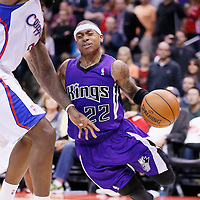 23 November 2013: Sacramento Kings point guard Isaiah Thomas (22) drives Los Angeles Clippers center DeAndre Jordan (6) during the Los Angeles Clippers 103-102 victory over the Sacramento Kings at the Staples Center, Los Angeles, California, USA.