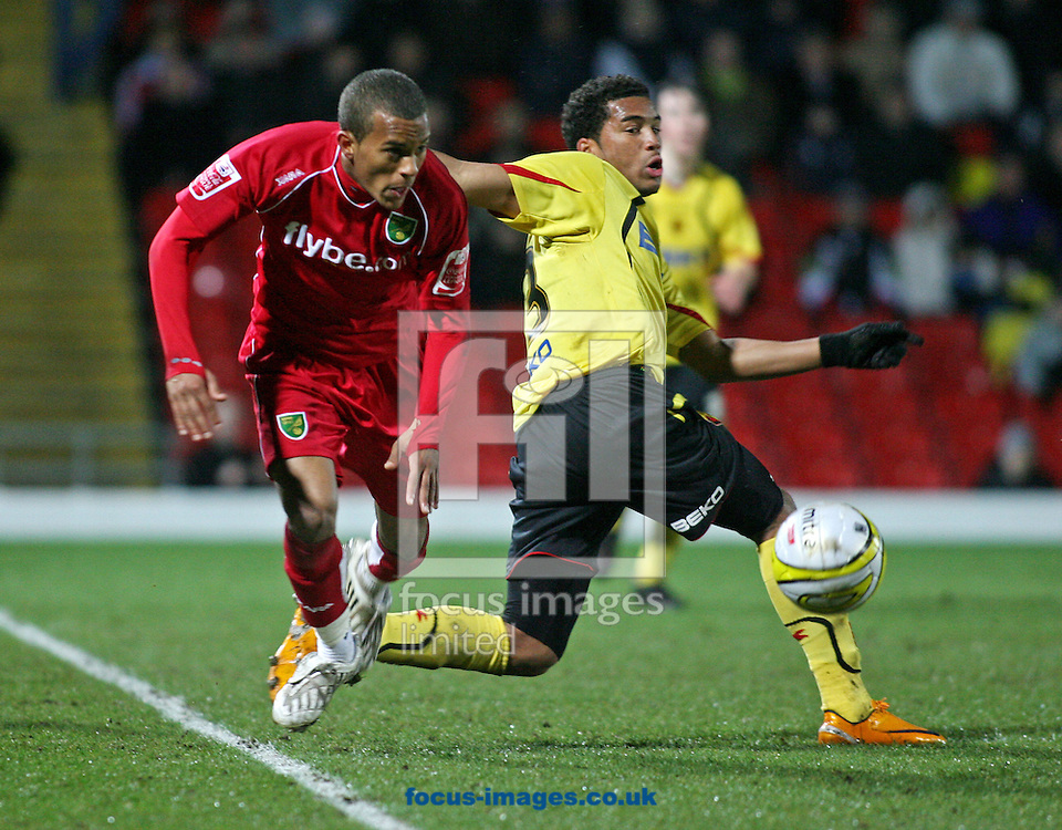 London - Tuesday, March 4th, 2008: Adrian Mariappa of Watford and Ryan Bertrand of Norwich City during the Coca Cola Champrionship match at Vicarage Road, London. (Pic by Chris Ratcliffe/Focus Images)
