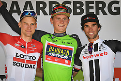 August 19, 2018 - Geraardsbergen, BELGIUM - Belgian Tim Wellens of Lotto Soudal, Slovenian Matej Mohoric of Bahrain-Merida wearing the green jersey of leader in the overall ranking and Australian Michael Matthews of Team Sunweb on the podium of the final stage of the Binkcbank Tour cycling race, 209,5 km from Lacs de l'Eau d'Heure to Geraardsbergen, Belgium, Sunday 19 August 2018. BELGA PHOTO DAVID STOCKMAN (Credit Image: © David Stockman/Belga via ZUMA Press)