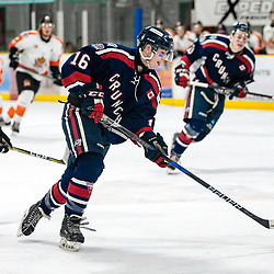 COCHRANE, ON - MAY 2: Tristan Taillefer #16 of the Cochrane Crunch skates with the puck on May 2, 2019 at Tim Horton Events Centre in Cochrane, Ontario, Canada.<br /> (Photo by Christian Bender / OJHL Images)