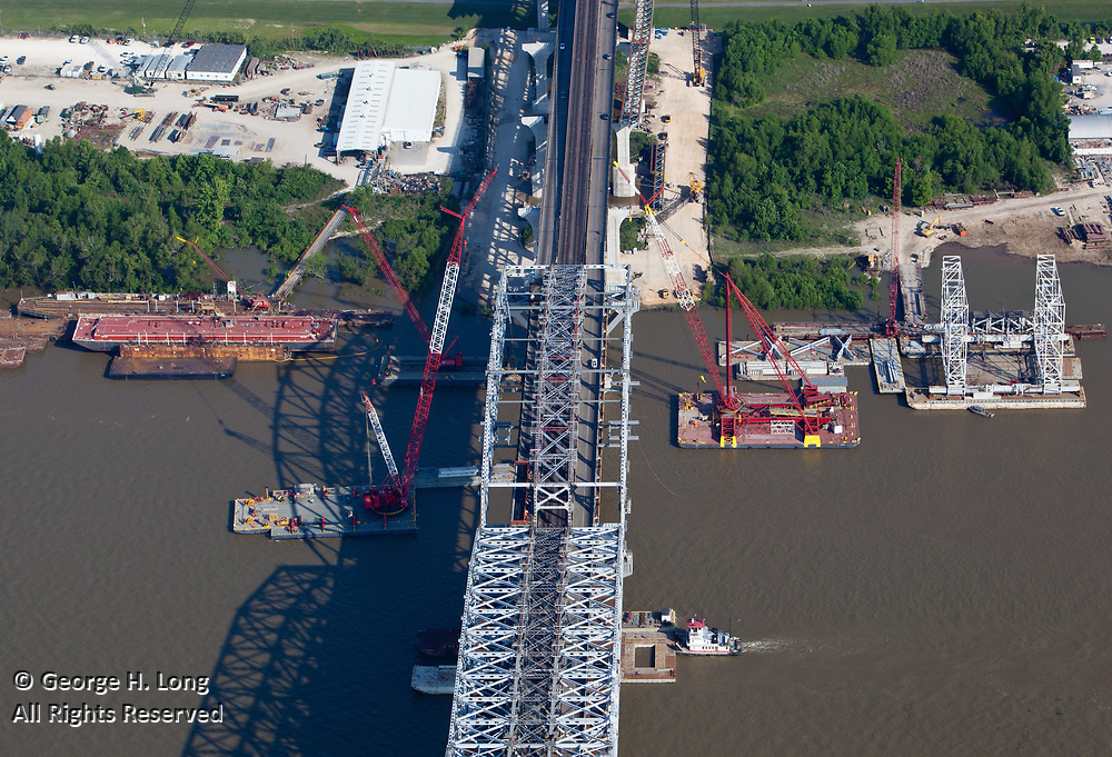 Aerial view of expansion construction on the Huey P. Long Mississippi River bridge