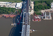 Aerial view of expansion construction on the Huey P. Long Mississippi River bridge; April 30, 2011