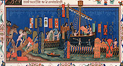 Crusaders embarking for the Holy Lane. Detail from 15th century 'Statutes of the Order of Saint Esprit'. Banners show Papal arms, those of Holy Roman Emperor, and kings of England, France and Sicily. Chromolithograph