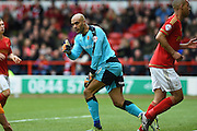 Wolverhampton Wanderers goalkeeper Carl Ikeme (1) puts a thumb up during the Sky Bet Championship match between Nottingham Forest and Wolverhampton Wanderers at the City Ground, Nottingham, England on 30 April 2016. Photo by Jon Hobley.