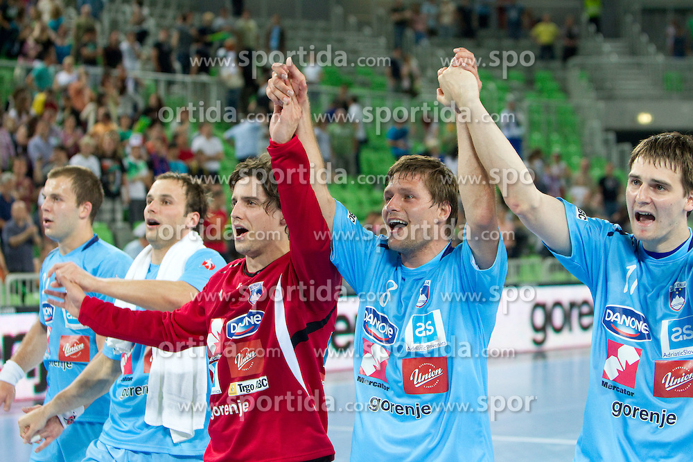 Matevz Skok, Marko Bezjak and Skube Sebastian of Slovenia celebrate after winning the handball match between National teams of Slovenia and Ukraine of 2012 EHF Men's European Championship Play-off, on June 12, 2011 in  Arena Stozice, Ljubljana, Slovenia. Slovenia defeated Ukraine 43-32 and qualified to EURO Serbia 2012 (Photo By Vid Ponikvar / Sportida.com)