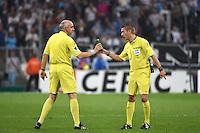 Objet sur la pelouse / Clement Turpin / Jean Charles Cailleux - 10.05.2015 -  Marseille / Monaco  - 36eme journee de Ligue 1<br />Photo : Alexandre Dimou / Icon Sport