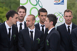 Branko Ilic, Bostjan Cesar, Miso Brecko, Mirnes Sisic, Robert Koren and Dejan Kelhar at official presentation of Slovenian National Football team for World Cup 2010 South Africa, on May 21, 2010 in Congress Center Brdo at Kranj, Slovenia. (Photo by Vid Ponikvar / Sportida)