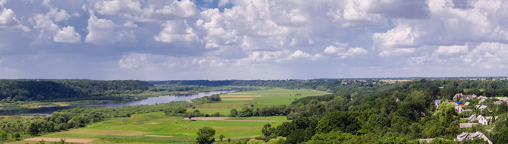 Panoramic view of the Nemunas River Valley from Raudone, Lithuania.