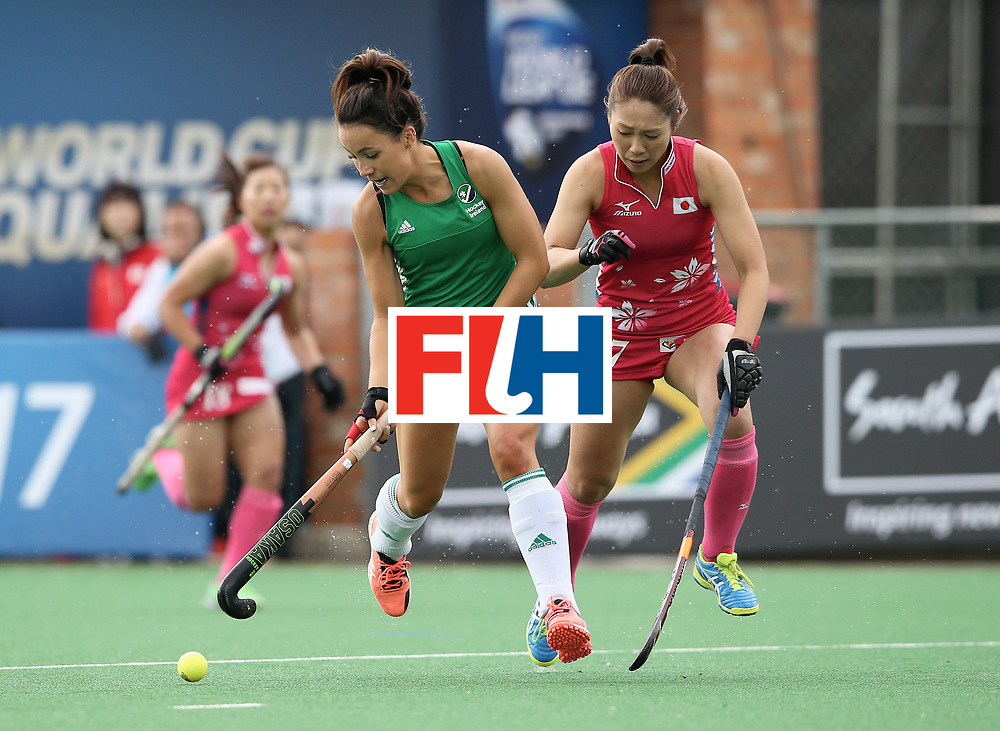 JOHANNESBURG, SOUTH AFRICA - JULY 08:  Anna O'Flanagan of Ireland and Mami Ichitani of Japan battle for possession during the pool A match between Japan and Ireland on day one of the FIH Hockey World League Semi-Final at Wits University on July 8, 2017 in Johannesburg, South Africa.  (Photo by Jan Kruger/Getty Images for FIH)