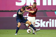 AC Milan's Croatian striker Ante Rebic tussles with AS Roma's Italian defender Gianluca Mancini during the Serie A match at Giuseppe Meazza, Milan. Picture date: 28th June 2020. Picture credit should read: Jonathan Moscrop/Sportimage