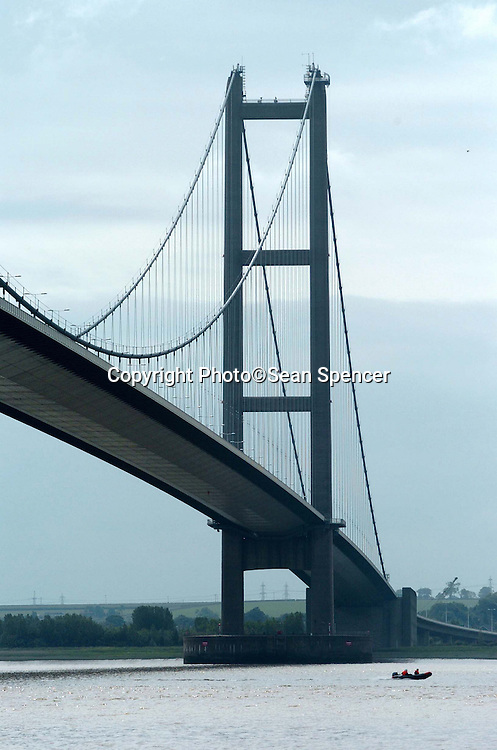 12 June 2005: The Humber Bridge south tower where a woman and small child are thought to have jumped into the river below. They were both rescued by emergency services. A pram was found on the footpath on the bridge (below tower pictured)..Picture:Sean Spencer/hullnews.co.uk 01482 210267/07976 433960.www.hullnews.co.uk.©Sean Spencer/Hull News & Pictures Ltd.NUJ recommended terms & conditions apply. Moral rights asserted under Copyright Designs & Patents Act 1988. Credit is required. No part of this photo to be stored, reproduced, manipulated or transmitted by any means without permission. .