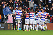 Queens Park Rangers defender Nedum Onuoha (5) celebrating after scoring 5-1 during the EFL Sky Bet Championship match between Queens Park Rangers and Rotherham United at the Loftus Road Stadium, London, England on 18 March 2017. Photo by Matthew Redman.