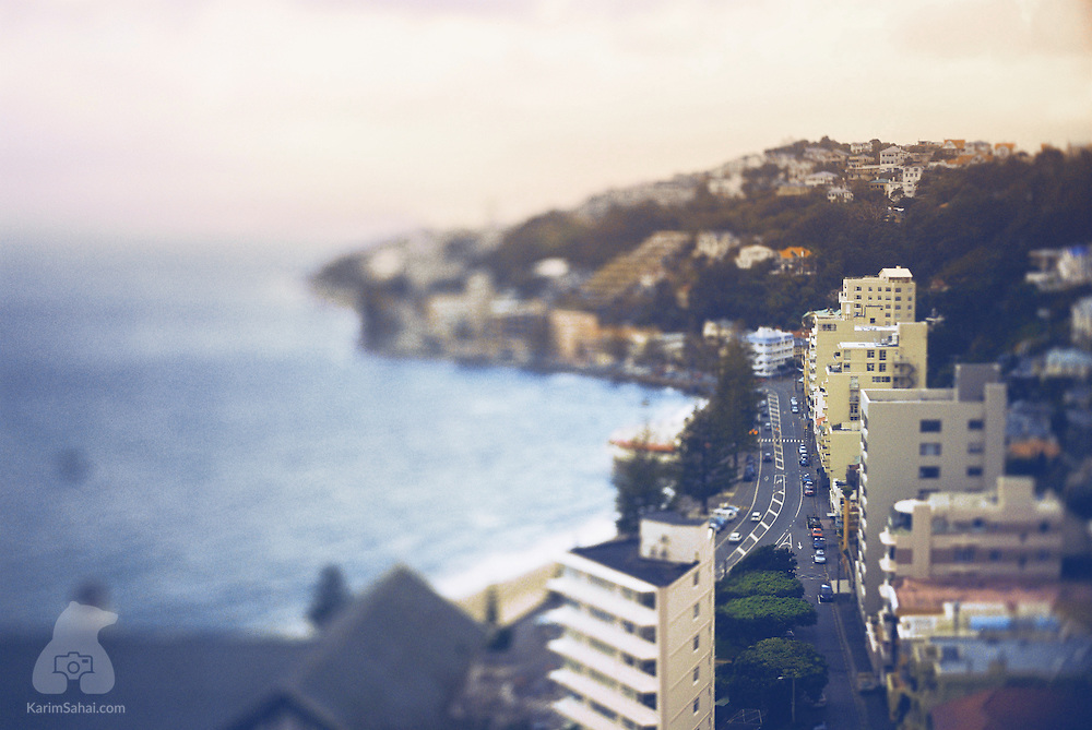 Elevated view of Oriental Parade, Wellington, New Zealand.