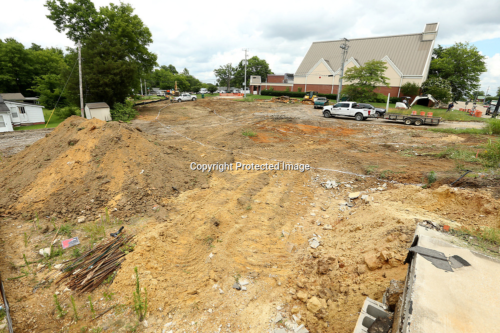 Crews start the dirt work on Lumpkin Ave and Main Street intersection on Tuesday afternoon as work ahs started on lining up Lumpkin Ave with Monument Drive in Tupelo.
