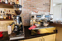 Coffee maker and espresso machine at restaurant counter