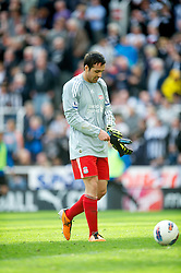 NEWCASTLE-UPON-TYNE, ENGLAND - Sunday, April 1, 2012: Liverpool's Jose Enrique is forced to go in goal after goalkeeper Jose Reina was sent off and his side had made all three substitutions during the Premiership match against Newcastle United at St James' Park. (Pic by David Rawcliffe/Propaganda)