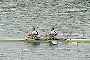 Munich, GERMANY.   GBR M2X. Bow.  Matt WELLS and Marrcus BATEMAN, during their afternoon semi final of the men's pairs. 2010 FISA World Cup. Olympic Rowing Course, Munich.  Saturday  19/06/2010   [Mandatory Credit Peter Spurrier/ Intersport Images]