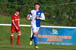 BLACKBURN, ENGLAND - Saturday, January 6, 2018: Blackburn Rovers's Kyle Connell celebrates scoring his side's first goal during an Under-18 FA Premier League match between Blackburn Rovers FC and Liverpool FC at Brockhall Village Training Ground. (Pic by David Rawcliffe/Propaganda)