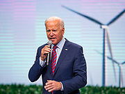 01 NOVEMBER 2019 - DES MOINES, IOWA: Former Vice President JOE BIDEN, candidate for president, speaks at the Liberty and Justice Celebration in the Wells Fargo Arena in Des Moines. The Liberty and Justice Celebration is a fund raiser for the Iowa Democratic Party. Many of the Democratic candidates for the US presidency spoke at the 2019 Celebration. Iowa holds the first presidential selection event of the 2020 election cycle. The Iowa Caucuses are Feb. 3, 2020.           PHOTO BY JACK KURTZ