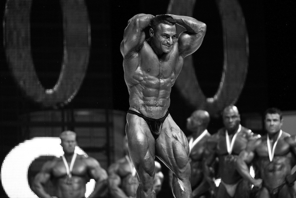 Ahmad Haidar on stage at the finals for the 2009 Mr. Olympia competition in Las Vegas.