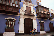 PERU, LIMA, ARCHITECTURE colonial buildings with balconies
