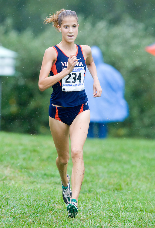 Katie Read (234/University of Virginia).  The Lou Onesty Invitational Cross Country meet was hosted by the University of Virginia XC team and held at Panorama Farms near Charlottesville, VA on September 6, 2008.  Athletes endured rain and wind from Tropical Storm Hanna during the race.