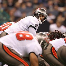 Dec 27, 2009; New Orleans, LA, USA;  Tampa Bay Buccaneers quarterback Josh Freeman (5) at the line during the second quarter against the New Orleans Saints at the Louisiana Superdome. Mandatory Credit: Derick E. Hingle-US PRESSWIRE..