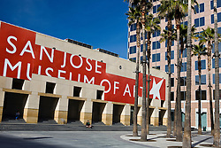 New Wing of the San Jose Museum of Art with Circle of Palms, San Jose, California, United States of America.