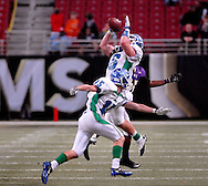 25 Nov. 201 -- ST. LOUIS -- Blue Springs South High School safety Connor Harris (16) intercepts a CBC High School pass to kill the Cadet's final rally in the closing moments of the second half of the MSHSAA Class 6 state championship Friday, Nov. 25, 2011 at the Edward Jones Dome in St. Louis. Photo © copyright 2011 Sid Hastings.