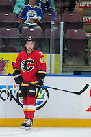 PENTICTON, CANADA - SEPTEMBER 17: Dillon Dube #59 of Calgary Flames stands on the ice against the Edmonton Oilers on September 17, 2016 at the South Okanagan Event Centre in Penticton, British Columbia, Canada.  (Photo by Marissa Baecker/Shoot the Breeze)  *** Local Caption *** Dillon Dube;