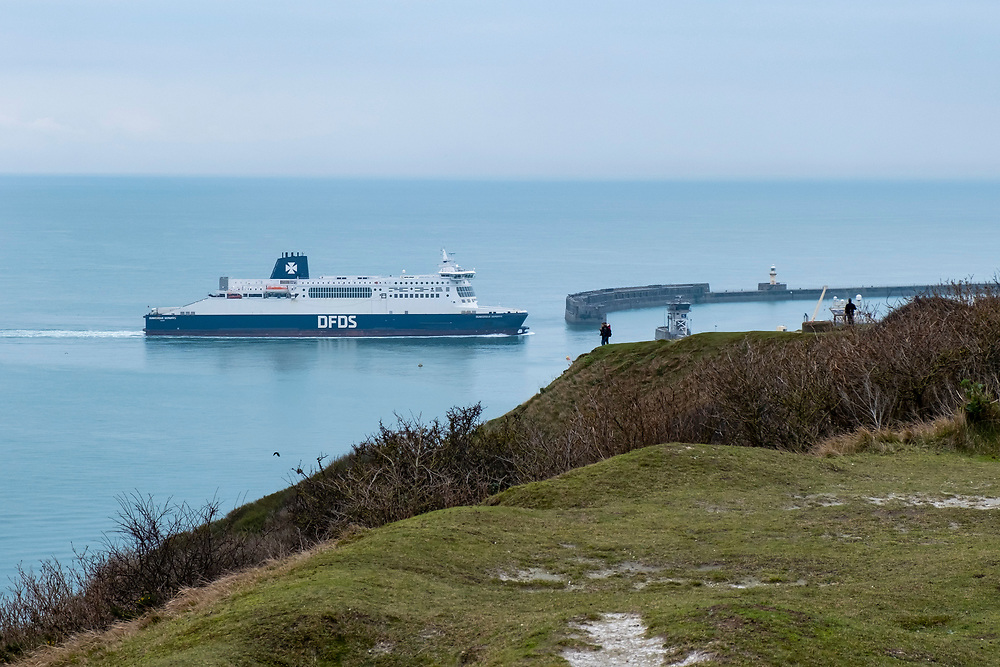 A DFDS Seaway ferry arrives into the Eastern Dock of the Port of Dover, where the cross channel port is situated with ferries departing here to go to Calais in France. Dover, Kent, United Kingdom.  Dover is the nearest port to France with just 34 kilometres (21 miles) between them. It is one of the busiest ports in the world. As well as freight container ships it is also the main port for P&O and DFDS Seaways ferries.  (photo by Andrew Aitchison / In pictures via Getty Images)