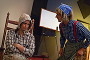 """Debby Hanks stubbornly gives Sean McLeod the silent treatment during a recent rehearsal for """"Aunt Polly's Demise-A Hillbilly's Delight"""" at the Family Worship Center in Hayden on Tuesday."""