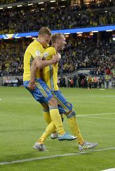 June 9, 2017 - Stockholm, Sweden - 17  Viktor Claesson, #20 Ola Toivonen..UEFA European Qualifiers Sweden - France 2-1, Friends Arena, Solna, Stockholm, Sweden 2017-06-09 (Credit Image: © Aftonbladet/IBL via ZUMA Wire)