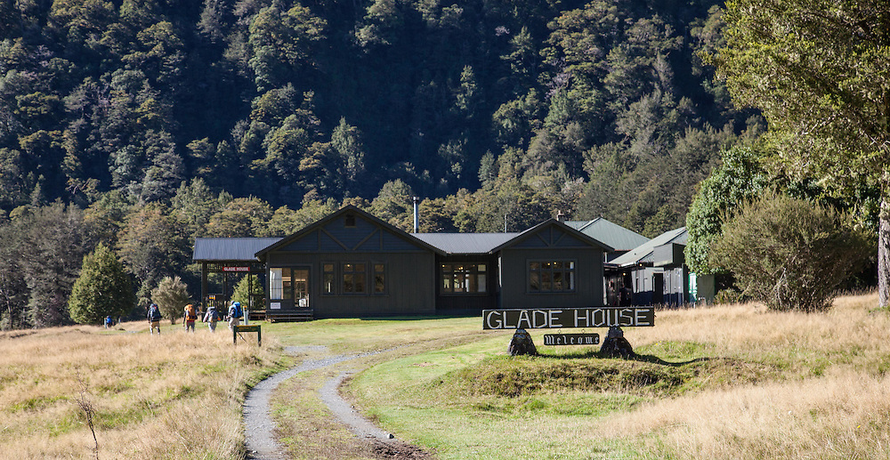 "Glade House - the first ""glamping"" hotel for the guided walkers - is just down the track from Glade Wharf. The self guiders continue on past..."