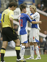 Photo: Aidan Ellis.<br /> Blackburn Rovers v Manchester City. The Barclays Premiership. 17/09/2006.<br /> Blackburn's Robbie Savage congratulayes first goal scorer Morten Gamst Pedersen