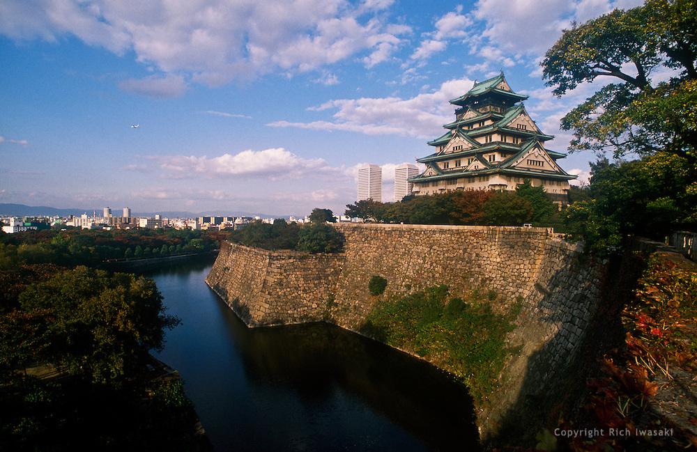 Osaka castle and moat, Osaka Castle Park, Osaka, Japan
