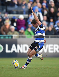 Bath Rugby fly half George Ford kicks a conversion against Wasps at the Recreation Ground - Photo mandatory by-line: Paul Knight/JMP - Mobile: 07966 386802 - 10/01/2015 - SPORT - Rugby - Bath - The Recreation Ground - Bath Rugby v Wasps - Aviva Premiership