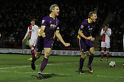 Aaron Downes celebrates the winning goal during the Vanarama National League match between Kidderminster Harriers and Cheltenham Town at Aggborough, Kidderminster, United Kingdom on 26 December 2015. Photo by Antony Thompson.