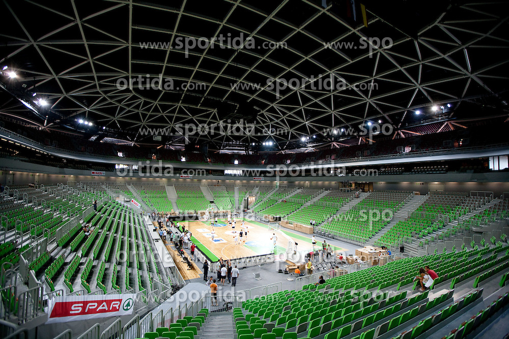 Arena at practice of Slovenia basketball team before opening of the new sports arena in Stozice on August 10, 2010, in Ljubljana, Slovenia.  (Photo by Vid Ponikvar / Sportida)