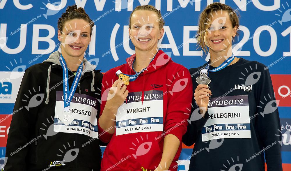 from left HOSSZU Katinka HUN, WRIGHT Melanie AUS, PELLEGRINI Federica ITA<br /> 100 freestyle women<br /> FINA Airweave Swimming World Cup 2015<br /> Dubai U.A.E  2015  Nov.6 th - 7th3 rd<br /> Day1 - Nov. 7 th finals<br /> Photo G. Scala/Deepbluemedia