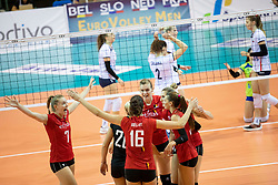 Players of Belgium during volleyball match between National teams of Slovenia and Belgium in 4th Qualification Round of 2019 CEV Volleyball Women's European Championship, on August 25, 2018 in Sports hall Tabor, Maribor, Slovenia. Photo by Urban Urbanc / Sportida